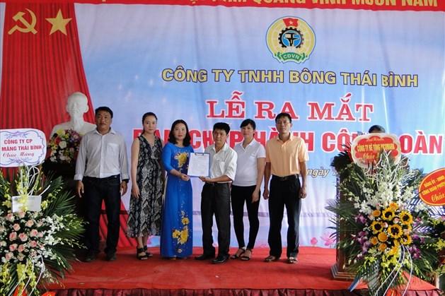 Liên đoàn Lao động thành phố Thái Bình thành lập mới CĐCS
